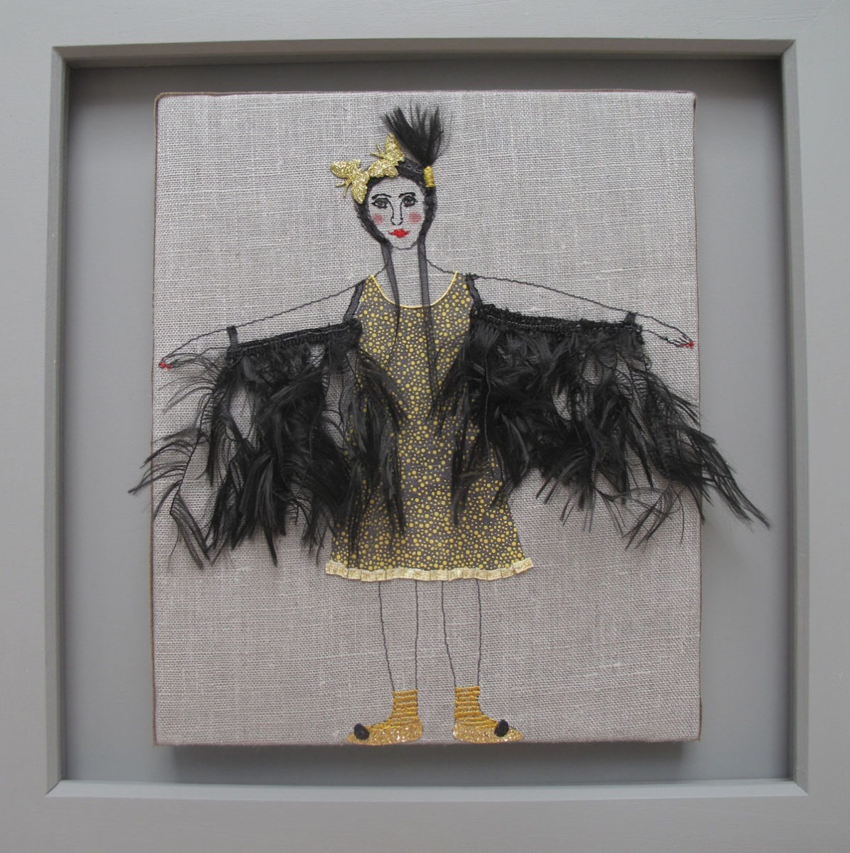 A Wish For Feathered Wings - textiles and mixed media