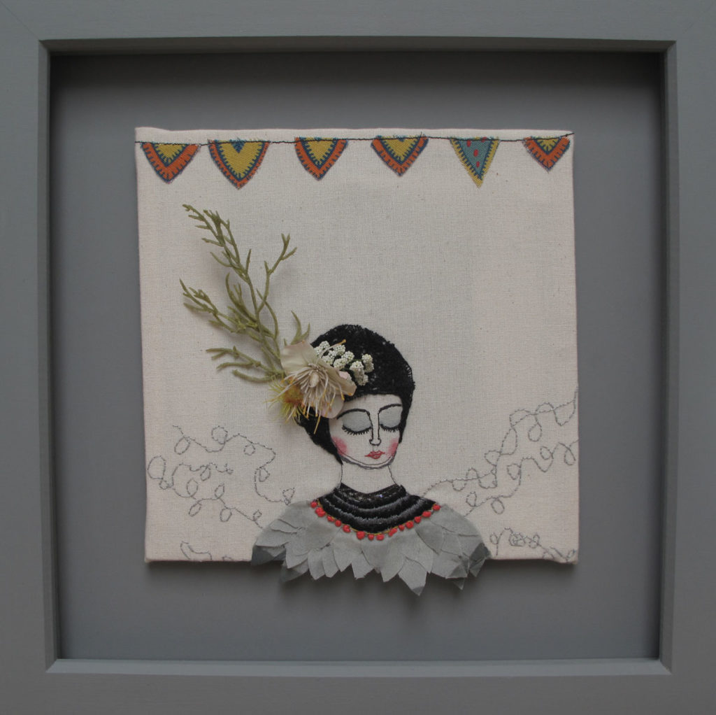 Flowers In Her Hair - textiles and mixed media